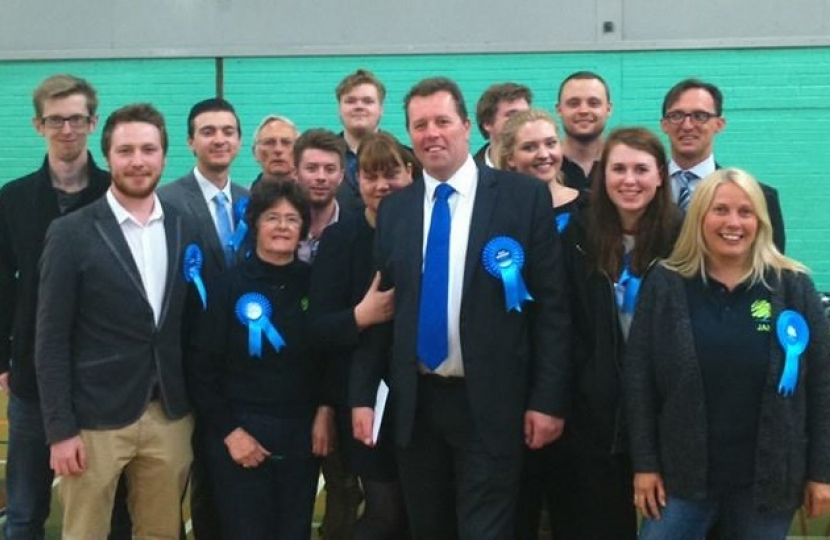 Mark Spencer MP and activists at the General Election count